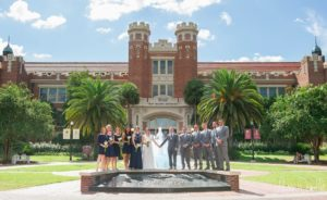 Julie + Kevin - Golden Eagle Country Club Wedding in August - FSU Ruby Diamond Backdrop